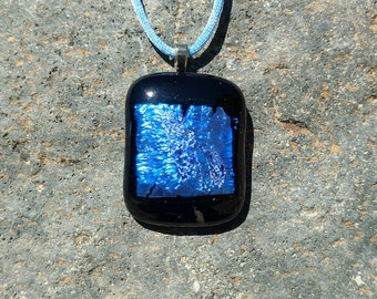 Dichroic Fused Glass Pendant, Black with Shimmering Blue, Handmade Necklace