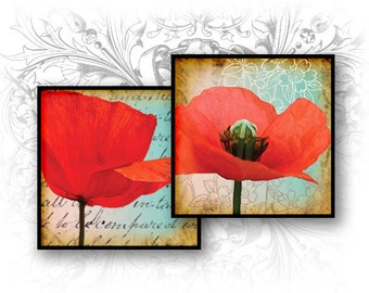 Poppies 1 Inch Square Images Digital Collage Sheet Ready to Print
