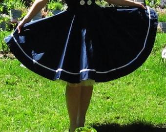 Pinup skirt 'Sailor Girl', nautical skirt, PLUS SIZE AVAILABLE, sailor skirt, navy skirt separate