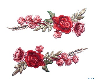 Floral embroidered applique - Red roses flamenco