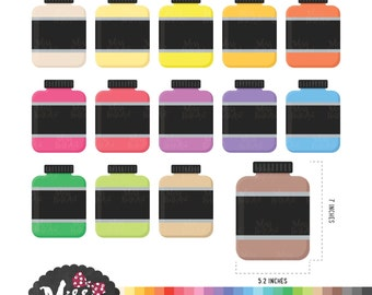 30 Colors Protein Bottle Clipart - Instant Download
