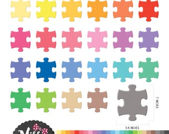 30 Colors Puzzle Clipart - Instant Download
