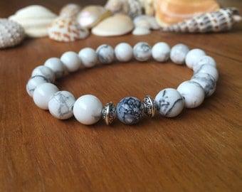 8mm White Howlite Beaded Bracelet, Gemstone Bracelet, Stacking Bracelet, Healing Bracelet, Womens Beaded Bracelet