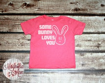 Some Bunny Loves You Rabbit Drawing Toddler T-Shirt in White, Blue & Pink in Sizes 2T-5/6