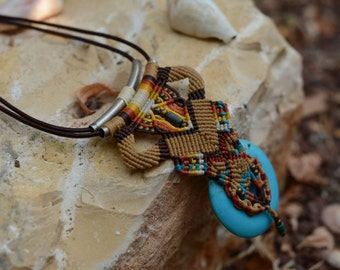 "Macrame Bohemian style Necklace with Turquoise stone , ""Joy"", boho hippie beach , tribal, unique jewelry, chic, style"