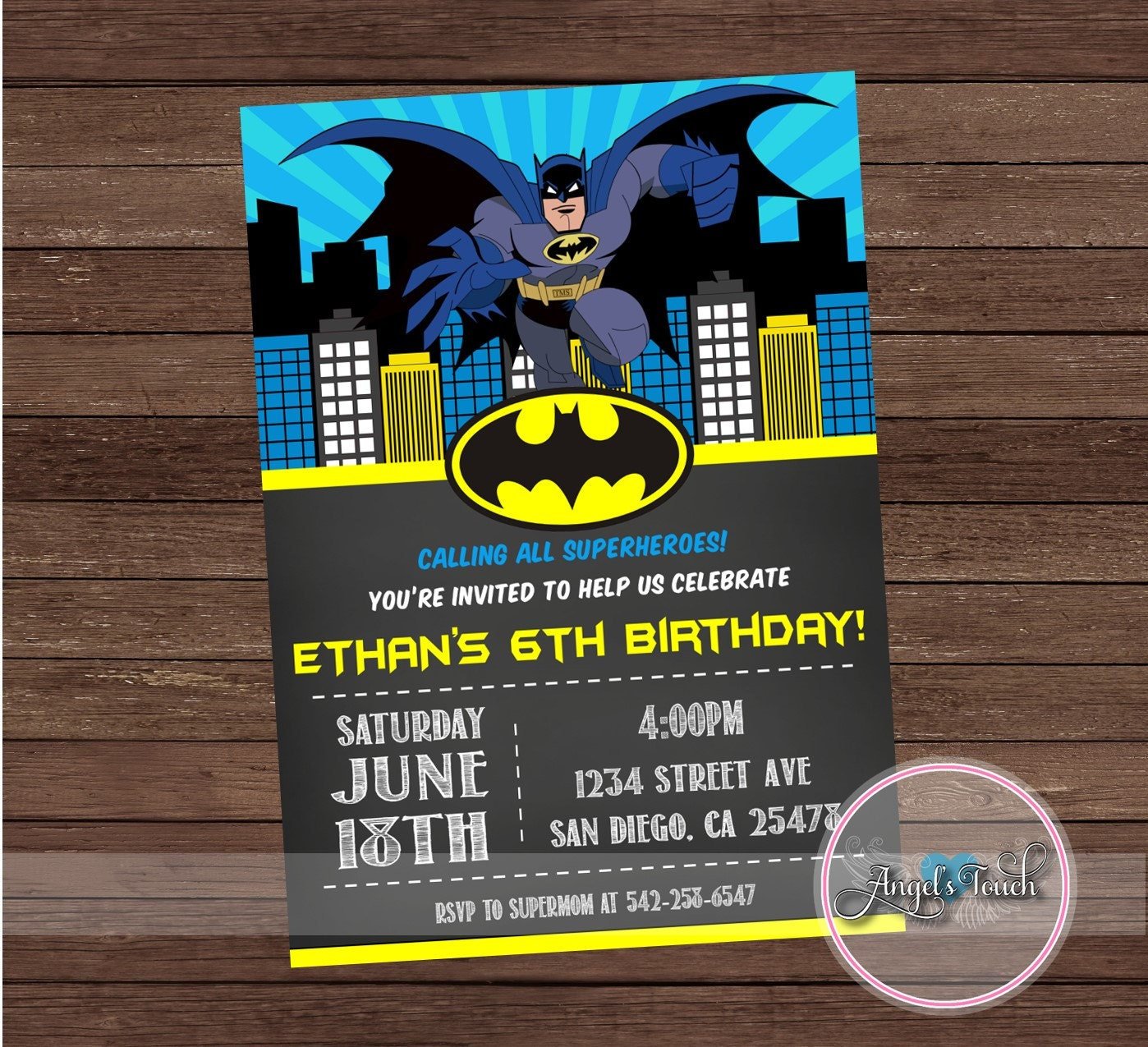 Batman Party Invitation, Batman Birthday Invitation, Batman ...