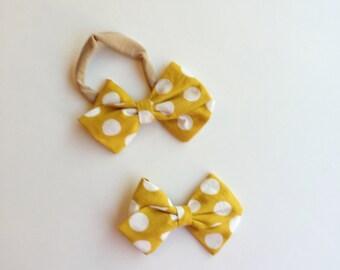 Baby Girl Headband, Mustard Polka Dot Fabric Bow, Fabric Bow Hair Clip, Toddler Hair Clip, Nylon Headband, Baby Headband, Baby Shower Gift