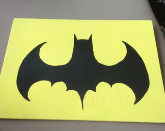 Batman-yellow and black, panel painting
