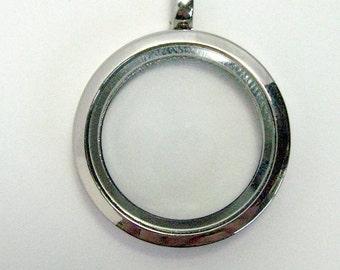 Floating Locket 30mm - memory locket - locket necklace - large locket - glass locket - round locket - locket pendant - magnet clasp