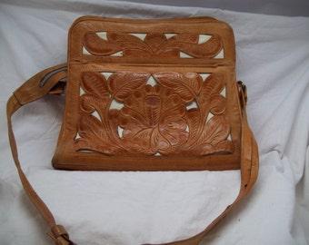 vintage Avelar hand tooled leather purse