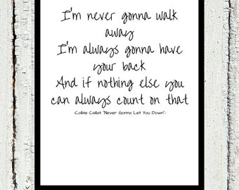 Never Gonna Let You Down Printable