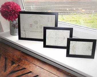 Star Wars Framed Blueprint , Home Decor, Wall Art - R2D2