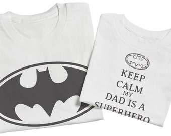 Super Hero Dad And Son Set Batman - White - Matching Father And Daughter Set - Fathers Day Gift - Men's T-Shirt & Baby Bodysuit