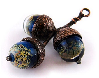 Pendant with lampwork glass acorns and electroformed branch