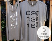 Couples Shirts, Best Day Ever Racerback Tank Tops for Women Best Day Ever T Shirts for Men Bride and Groom Shirts Bride Tank Top Groom Shirt