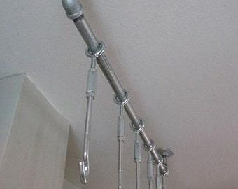 Hanging Pan Rack | Pot Rack | Saucepan Hanger | Utensil Hanger | Pot Hooks | Kitchen Storage | Industrial Pipe Decor