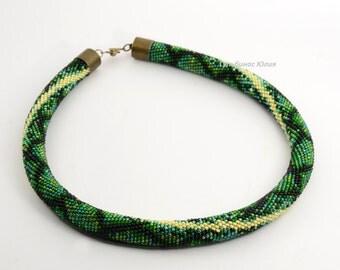 SALE!!SALE!!crochet rope necklace, crochet bead necklace, beadcrochet