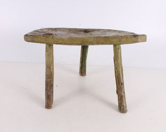 Antique Primitive Old Wooden Stool Chair.