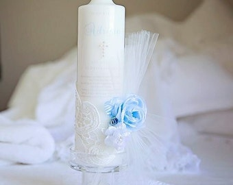 Baby boy Christening candle