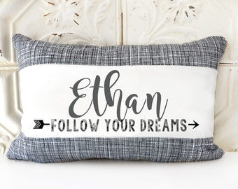 Personalized Name Pillow, Graduation pillow, College graduate gift, High school graduate gift, baby gift