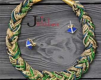 "Bead Crochet Necklace ""Braid"" braid Crochet necklace beaded rope Bead Crochet Rope For Everyday Gift For Girlfriend Wife Elegant"