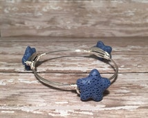 Blue Coral Reef Starfish - Wire Wrapped Bangle