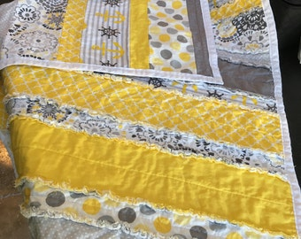Yellow and Gray Striped Rag Quilt