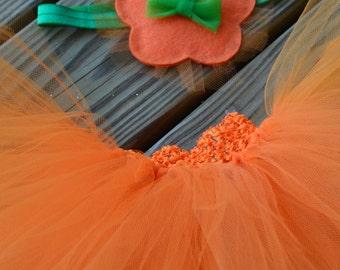 Halloween Pumpkin Baby/Toddler Tutu and Matching Hat Headband