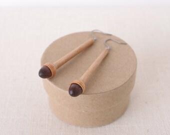 PAB-1 Wooden Acorn Earring w/ twig [Walnut & Cherry]