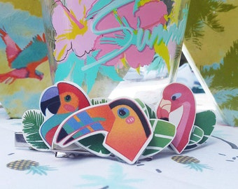 Summer Time! -tropical birds - barrette or PIN