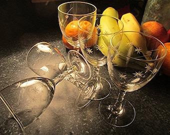 Crystal sherry glasses crystal glasses vintage sherry glasses set of 5 engraved etched retro 50s glassware vintage glasses.