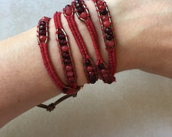Unique Red and Woven Wrap Bracelet