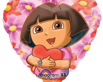 FAST SHIP TWO Dora the Explorer Birthday Balloons, Dora Party Balloons, Dora Heart Shape Balloons, Dora Party Supplies, Love Balloons