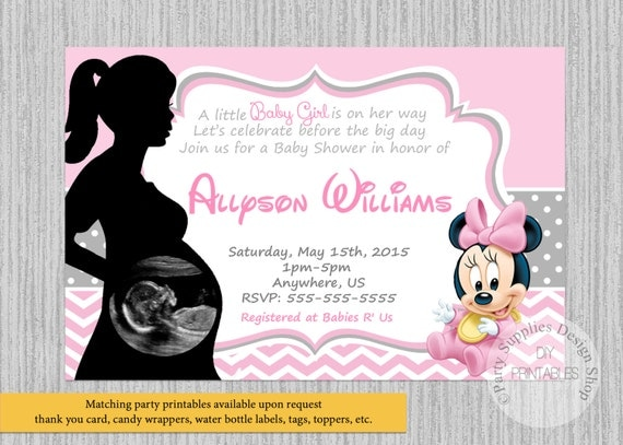 PRINTED or Digital Baby Minnie Mouse Baby Shower Invitations