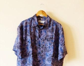 SALE Vintage 90s Crazy Pattern Funky Fresh Silk Shirt