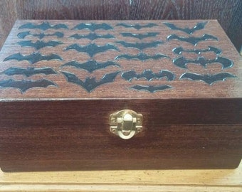 Batman Symbol Wooden Box. Wood Burned Box. Jewelry Box. Stash Box. Storage Box. Batman Symbols