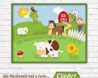 Farm animal wall decor, Old MacDonald had a farm, printable digital wall art, Barnyard wall decor, Kids birthday party - instant download