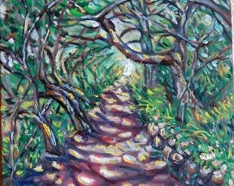 "Original Oil painting, Path in Garden, 20""x16"", 1610073"