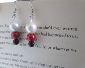 earrings, red black white earrings