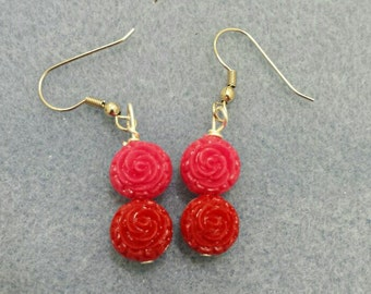 Red and Pink Rosebud Earrings