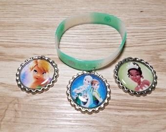 10 Green Bracelets Party Favors. Tiana, Tinkerbell, Frozen Fever