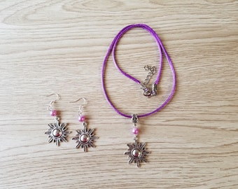 Inspired Rapunzel jewelry.  Necklace and earrings Set