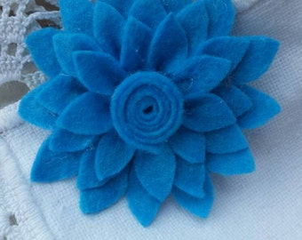 Wood flower brooch