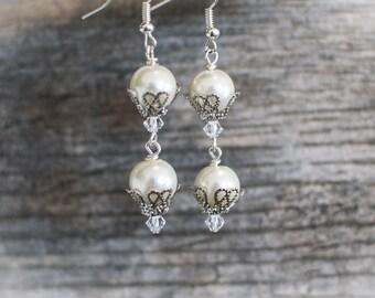 Elegant Swarovski Crystal and Ivory Glass Pearl Dangle Earrings