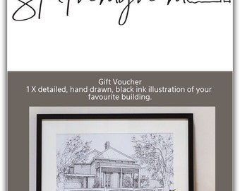 Gift Voucher for 1 x detailed, hand drawn, black ink illustration of your favourite building.