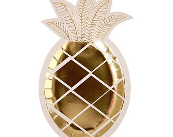Pineapple Plates, White and Gold, Party Supplies, Pineapple Party, Fruit Partyware, Tropical Party, Gold Plates, Luau Party,Hawaiian Party