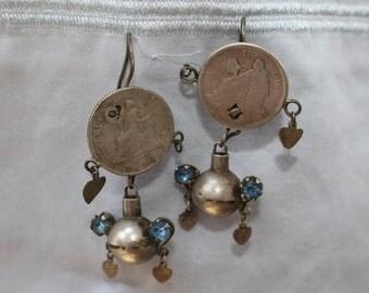 Vintage Mayan Ethnic Guatemalan Silver Earrings!
