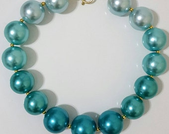 Turquoise Ombre Big Bead Necklace