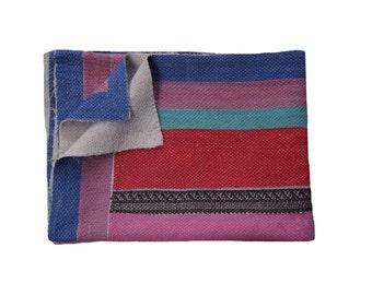 Vintage Red & Blue Stripe Kantha Reversible Quilt, Kantha Bedspread, Indian Blanket, Kantha Throw, Coverlet, Sofa Cover