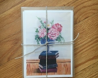 Books & Flowers card pack